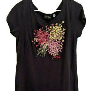 Bob Mackie Black Floral T Shirt Dress Sz Small